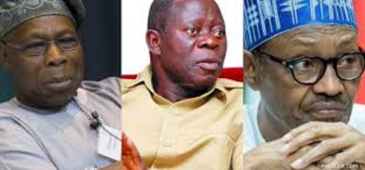 Oshiomhole Reacts to Obasanjo's Attack on Buhari, APC